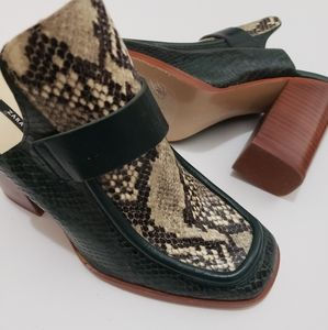 Zara Snakeskin Green/ Brown Mules Block Heels